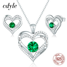 Cdyleอินเดียเครื่องประดับชุดเจ้าสาวShining Cubic Zirconiaหัวใจคู่สร้อยคอต่างหูชุดเงิน 925 ผู้หญิงอุปกรณ์เสริม