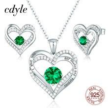 Cdyle hint gelin takı setleri parlayan yeşil kübik zirkonya çift kalp kolye küpe seti gümüş 925 kadın aksesuarları