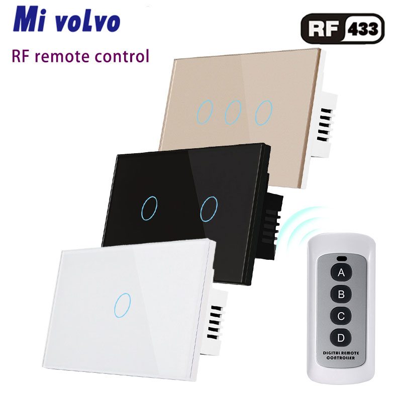 Wireless touch <font><b>switch</b></font> <font><b>RF433</b></font> <font><b>remote</b></font> <font><b>control</b></font> AC110V 240V 1/2 / 3gang tempered glass panel US standard <font><b>light</b></font> <font><b>switch</b></font> image