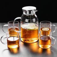 A resistência de alta temperatura do jarro da água da escala de vidro com tampa do punho engrossou o jarro para o escritório em casa faz o uso do chá