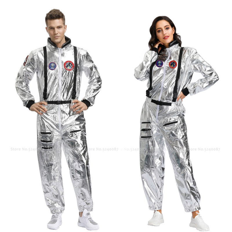 Halloween Women Men Couples Party Stage Space Suit Carnival Masquerade Astronaut Jumpsuit Cosmonaut Role Play Cosplay Costumes image
