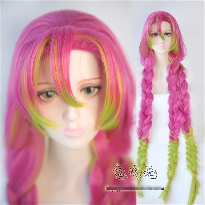 Japanese Anime Demon Slayer: Kimetsu No Yaiba Women Kanroji Mitsuri Cosplay Wig Colorful Hair Braids Hair Costumes