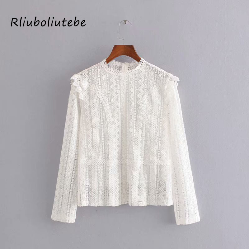 Elegant White Lace Blouse Shirt Sexy Hollow Out Embroidery Ruffles Blouse Women Long Sleeve Autumn Tops Female