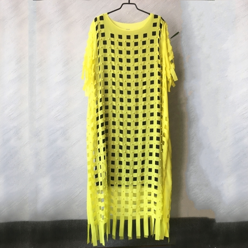 African Dresses For Women 2 Piece Sets Beading Dashiki Dress Chiffon Loose Square Grid Hollow Out Midi Dresses Africa Clothing
