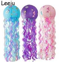 Leeiu roxo azul jellyfish lanterna pequena sereia decoração de festa mar folha de animais balões chá de bebê sereia fornecimento de aniversário