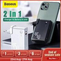 Baseus 10000mAh Power Bank 45W GaN Ladegerät 2 in 1 PD QC 3,0 AFC Schnelle Lade USB Ladegerät für iPhone Samsung Für Macbook Pro