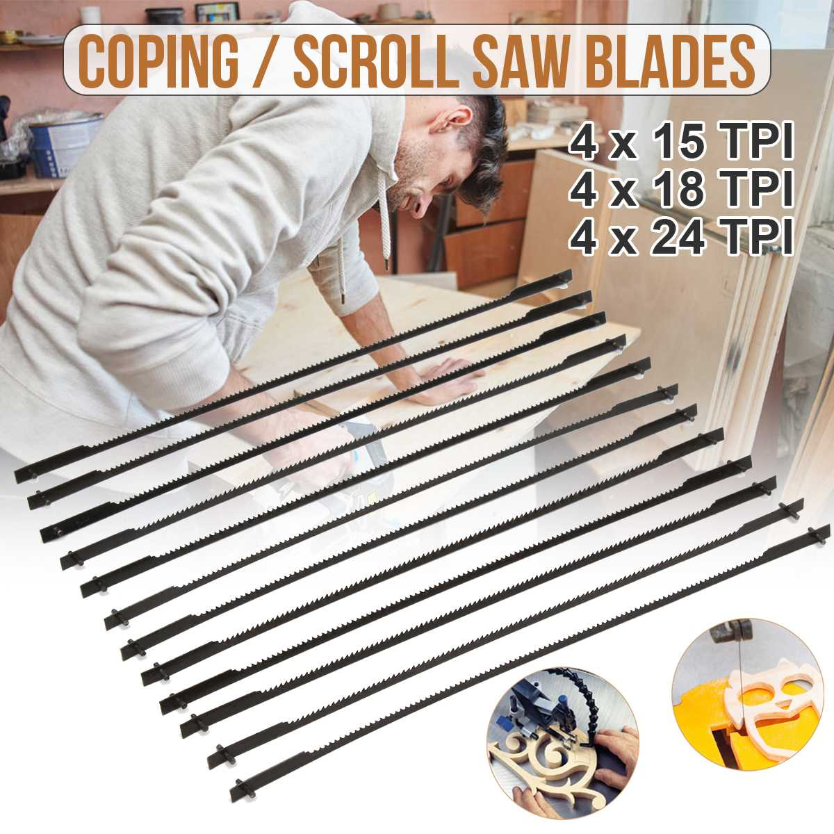 12pcs/set 152mm Pinned Scroll Saw Blades Woodworking Power Tools Accessories 152mm