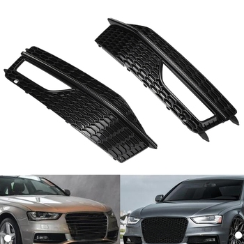 2Pcs Car Side Front Bumper Fog Light Grill Grills Grille Cover Replacements For-Audi A4 B8 S4 S-Line 2012-2015