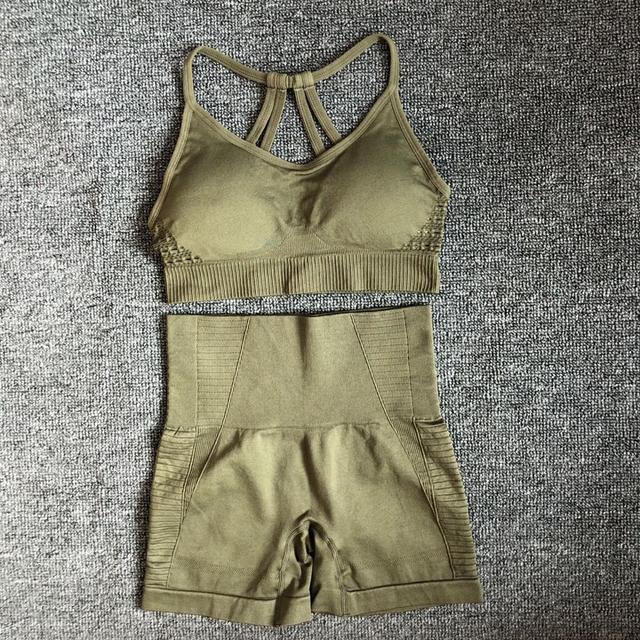 energy seamless gym set women 2 piece yoga short sets fitness athletic sports running yoga suit workout shorts set sportswear