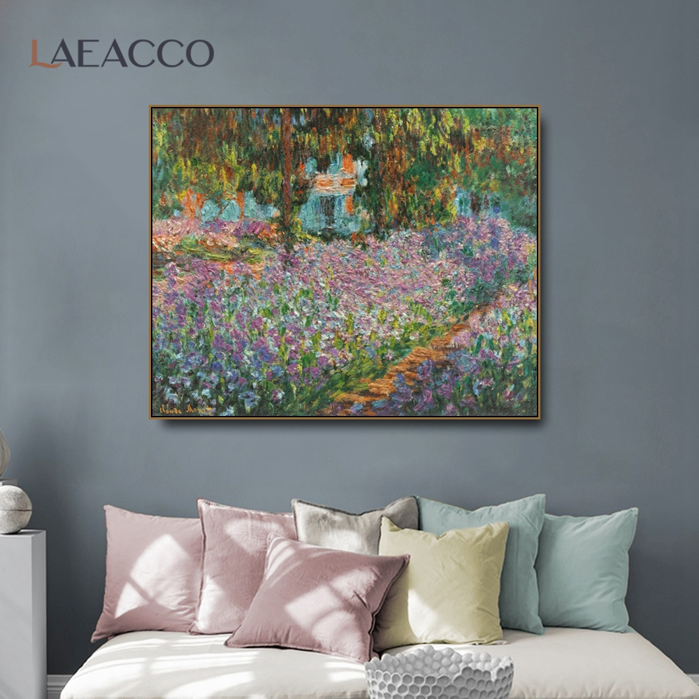Laeacco Artist's Garden By Monet Flowers Canvas Painting Calligraphy Poster Prints Living Room Wall Art Home Decoration Picture
