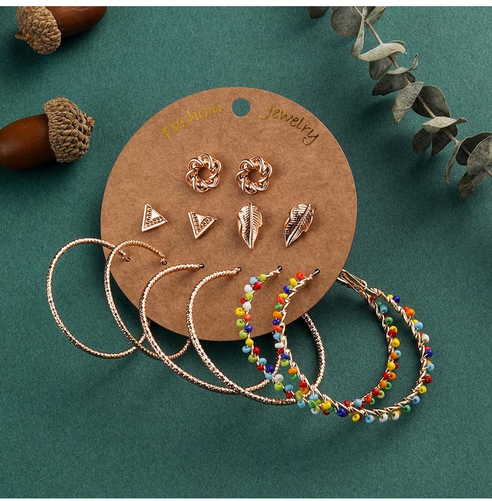 Bohemia Silver Earrings Set Vintage Ethnic Long Round Leaf Tassel Wedding Water Drop Earrings for Women Girls Statement Jewelry (1-1) (1)