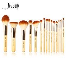 Conjunto de pincéis de maquiagem profissional, kit de ferramentas de maquiagem para base, pó definidor, revestimento de sombreamento, 15 peças
