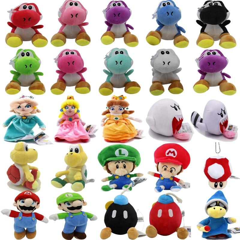 24Styles 6-25CM Super Mario Bros Yoshi Princess Daisy Peach Ghost Luigi Baby Bomb Mushroom Goomba Tortoise Plush Toys Kids Gifts