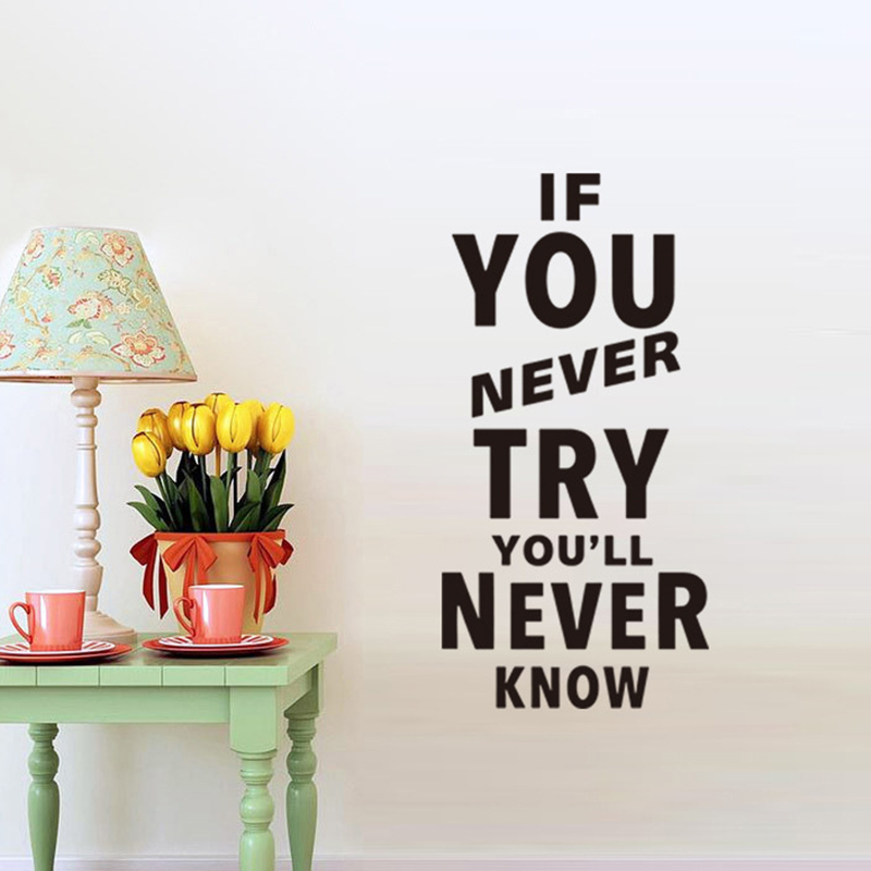 If You Never Try  Lettering Motivation Quote Wall Sticker Home Decal Living Room Mural Wallpaper Sticker For Kids Room Decor