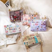 плечо сумки для женщин желе милый студент новинка корейская версия сумка через плечо кошельки прозрачная сумка-мессенджер кошелек сумка цепочка прозрачный полиуретан
