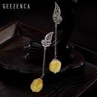 925 Sterling Thai Silver Natural Amber Tassel Stud Earrings Fine Jewelry for Women Vintage Designer Trendy Long Earring