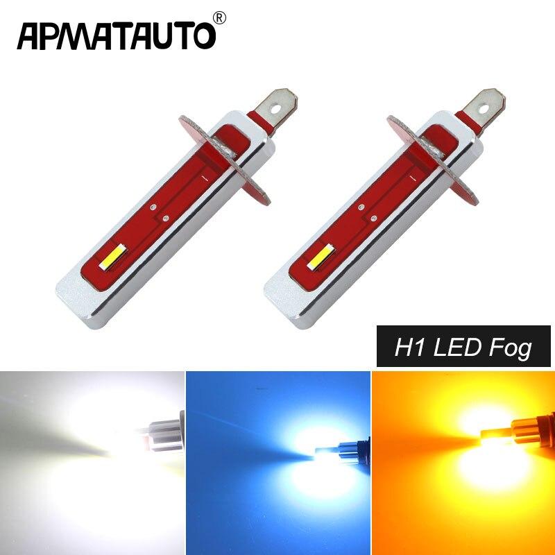 2PCS H1 LED Car Bulbs Auto 2000LM LED Fog Lamp DRL Daytime Running External Lights Day Driving Vehicle White 6000K Yellow 12V