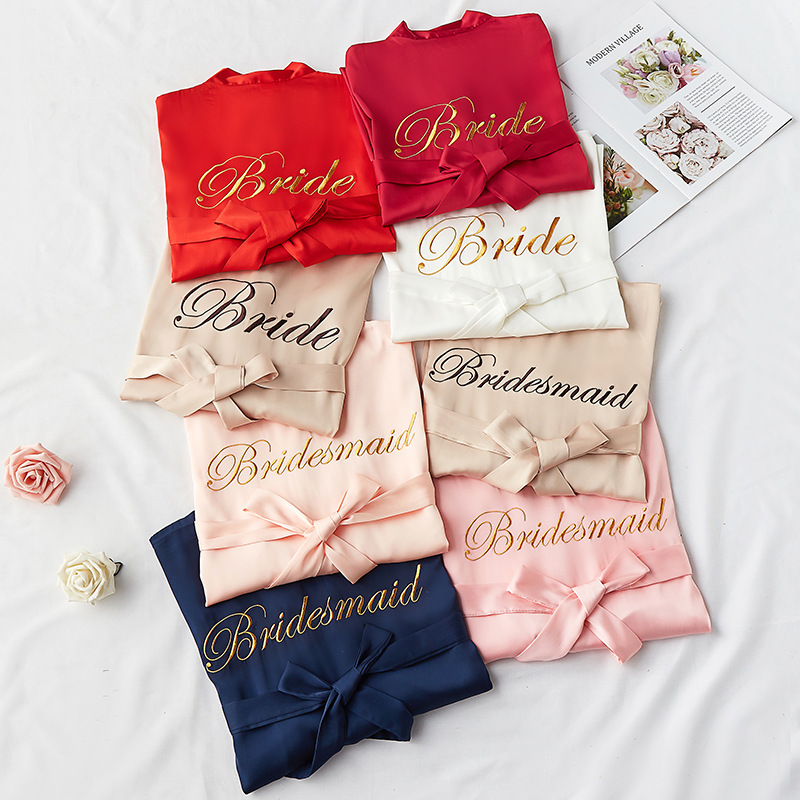 Bride Pijama Solid Dressing Gowns Womens Wedding Kimono Bridesmaid Pajamas Bride Team Morning Gown Sexy Bathrobe Silk Satin Robe