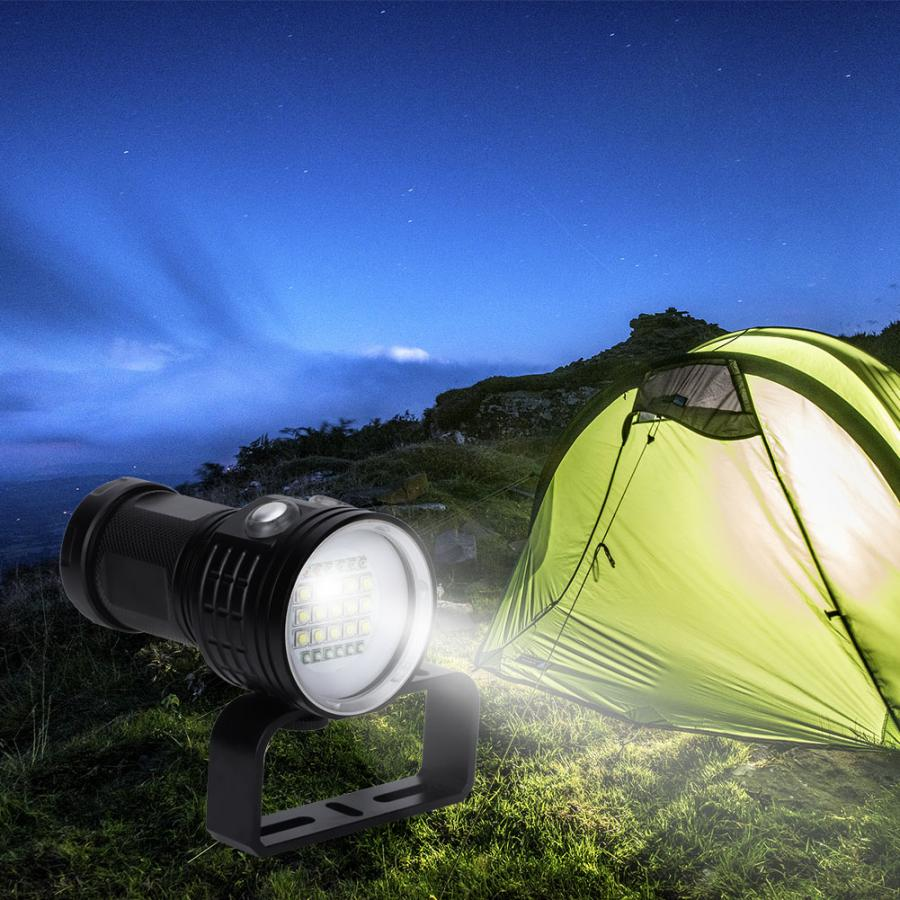 LED Bright Flashlight IP68 Waterproof Scuba Drive Portable Light For Outdoor Under Water Sports And Haking Camping