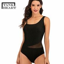 タンク心臓 2020 黒メッシュワンピース水着プラスサイズの水着の女性と胸パッド片方の肩のための女性