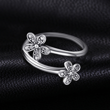 Cubic Zirconia Paved Sterling Silver Flower Ring Jewelry