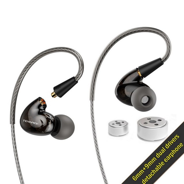 Tennmak Pro Dual Dynamic Driver Professional In Ear Sport Detach MMCX Earphone with microphone VS SE215 SE525