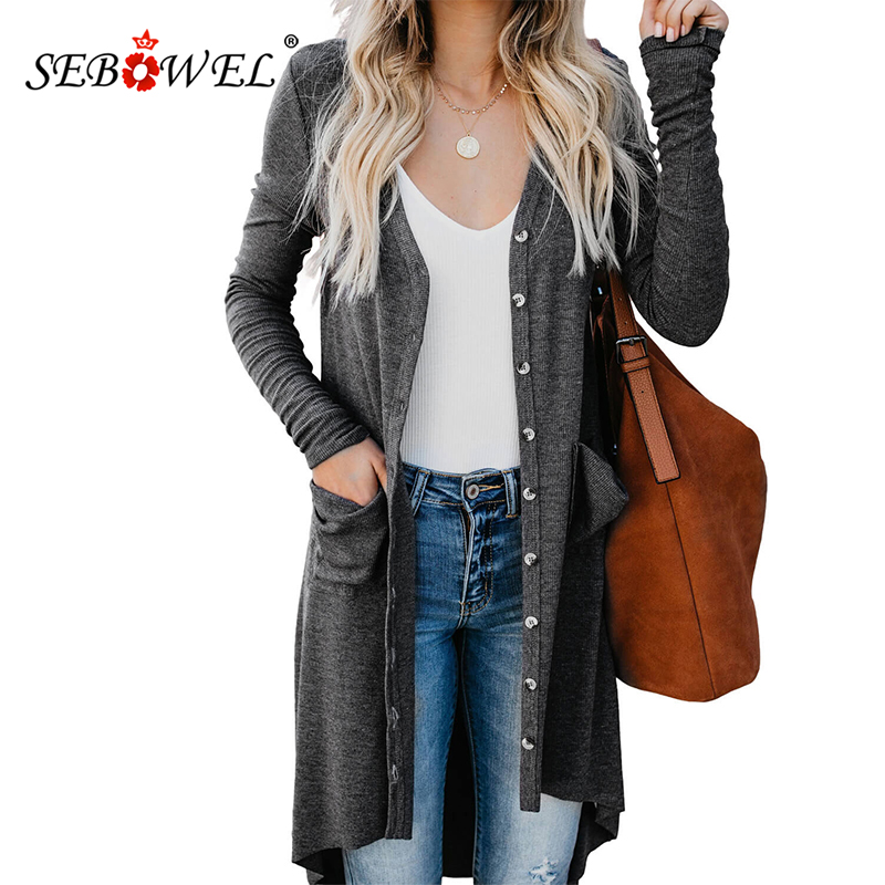 SEBOWEL Gray/Black Open Front High Low Cardigan Women Plus Size Knit Sweater Cardigans Autumn Button Down Pocketed Sweaters XXL