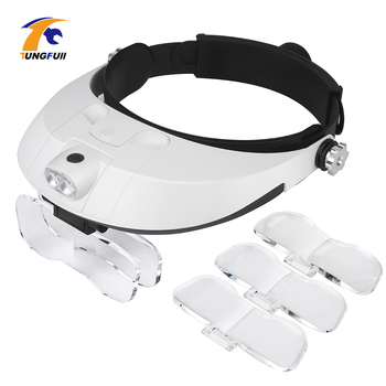 Repair Tool Magnifying Glass With Led Lights 1X 1.5X 2X 2.5X 3.5X 2LED Head-Mounted Illuminating Magnifier Glasses Loupe