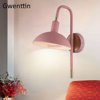 Nordic kolorowe doprowadziły kinkiet żelaza lustro oprawy oświetleniowe oprawa nowoczesny kinkiet ścienny do sypialni lampka nocna domu Loft Decor