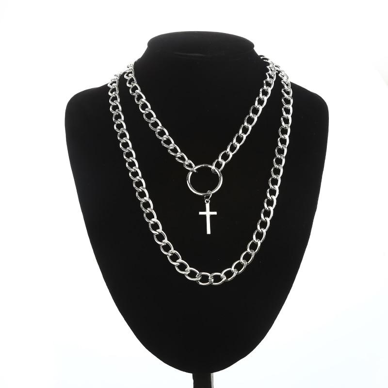 KPOP Layered Chain Necklace Punk Fashion Cross Pendants Women Men Grunge Aesthetic Egirl Alternative Goth Jewelry Gifts