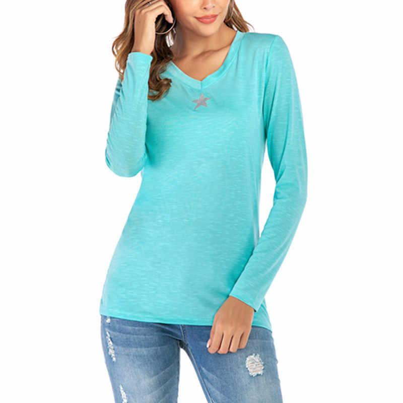 בתוספת גודל 5XL 2019 חדש אופנה חולצה נשים V-צוואר מחומש כוכב חולצות Tees נקבה ארוך שרוול כבוי כתף רחוב חולצות
