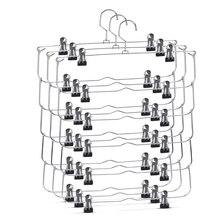 6-Tier юбка брюки шорты вешалки с регулируемыми зажимами Экономия пространства без скольжения вешалки юбка Органайзер 3 Упаковка