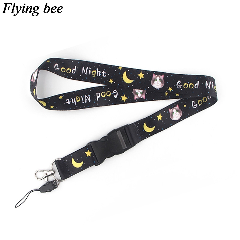 Flyingbee Cat Keychain Cartoon Cute Phone Lanyard Women Fashion Strap Neck Lanyards For ID Card Phone Keys X0589