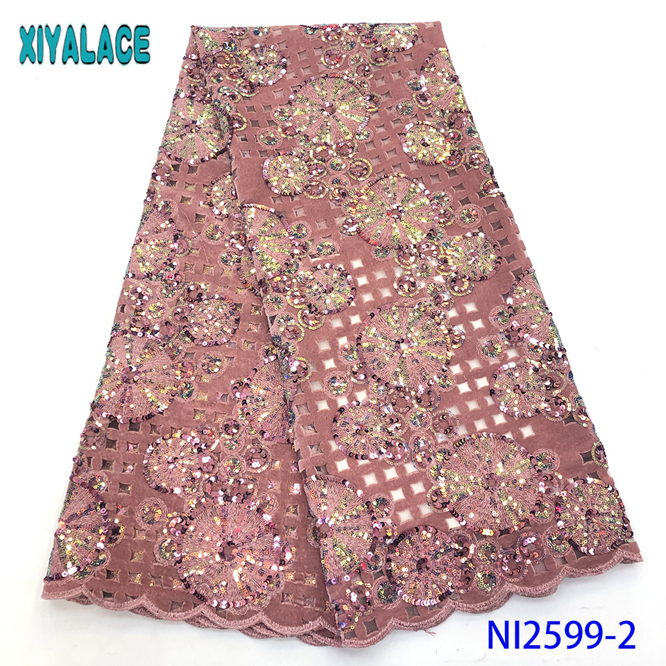 French Mesh Lace High Quality Velvet Lace Fabric With Sequins African Lace Fabrics With Sequence For Bridal Lace KSNI2599