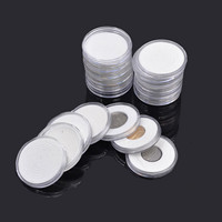 20 Pcs/Set Coin Storage Container Box 51mm PS Display Capsules Holder Reusable Round Applied Clear Coin Cases Collection Gifts