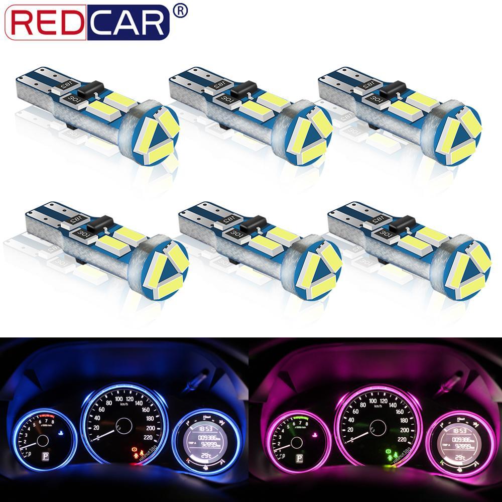 6 шт., Автомобильные светодиодные лампы T5 W3W W1.2W для приборной панели, 7 светодиодов SMD 4014