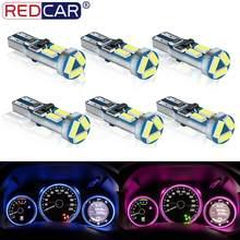 Luz automática de carro, 6 peças t5 led w3w w1.2w led luzes para painel de carro 7 led smd 4014 lâmpada de aviso de lâmpada, indicador de aviso