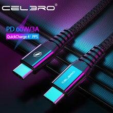 60w usb tipo c cabo de carga rápida usb c pd cabo usbc typec tipo c carregador cabo kabel para samsung galaxy s20 plus nota 20 ultra +