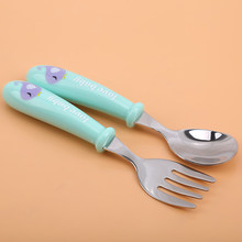 Baby Gadgets Geschirr Set Kinder Utensil Edelstahl Kleinkind Geschirr Besteck Cartoon Infant Lebensmittel Fütterung Löffel Gabel(China)