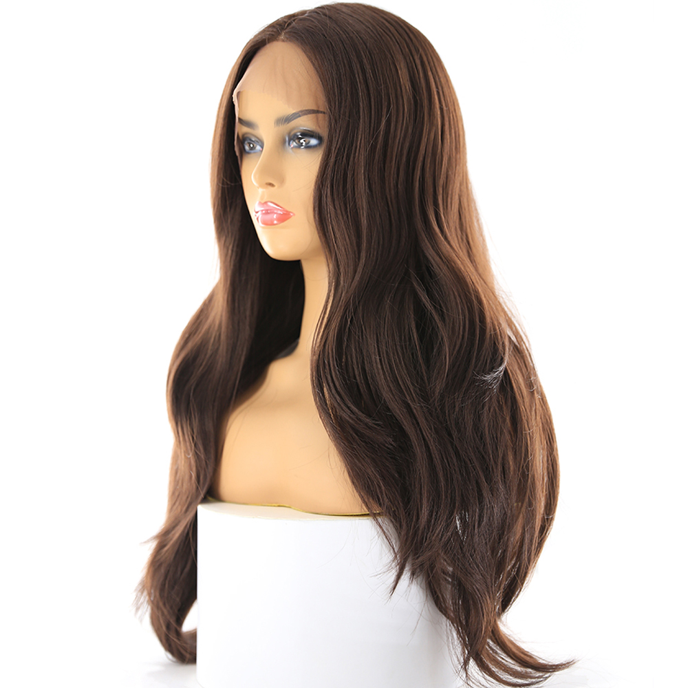 Image 2 - Medium Brown Synthetic Hair Lace Wigs For Women X TRESS Blonde 613 Long Wavy Lace Front Wigs With Natural Hairline Middle Part-in Synthetic Lace Wigs from Hair Extensions & Wigs