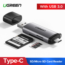 цена на Ugreen Card Reader USB 3.0 Type C to SD Micro SD TF Adapter for laptop Accessories OTG Cardreader Smart Memory SD Card Reader