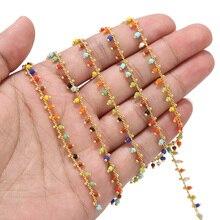 5 metrowe szkło mosiężne koraliki łańcuchy pozłacane łańcuch satelitarny do tworzenia biżuterii DIY