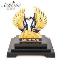 3D Любовь Лебедь пара модель статуэтки, миниатюры 24K Золотая фольга скульптура в виде Лебеди скульптура Свадебная декор украшения дома подар...