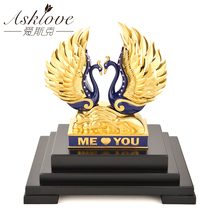 Love Swan Couple Model Figurine Miniatures Animal Home Ornaments Gold Foil Statue Sculpture Wedding Gifts Living Room Decor