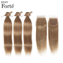 Remy Forte Straight Hair Bundles With Closure BLONDE Bundles With Closure Peruvian Hair Weave Bundles 3/4 Colored Hair Bundles remy forte straight hair bundles with closure pink bundles with closure brazilian hair weave bundles 3 4 colored hair bundles
