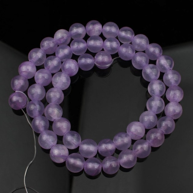 """Natural Stone Dark Purple Jades Round Loose Spacer Beads For Jewelry Making DIY Semi-Finished Handmade Bracelet 15"""" 4 6 8 10mm"""