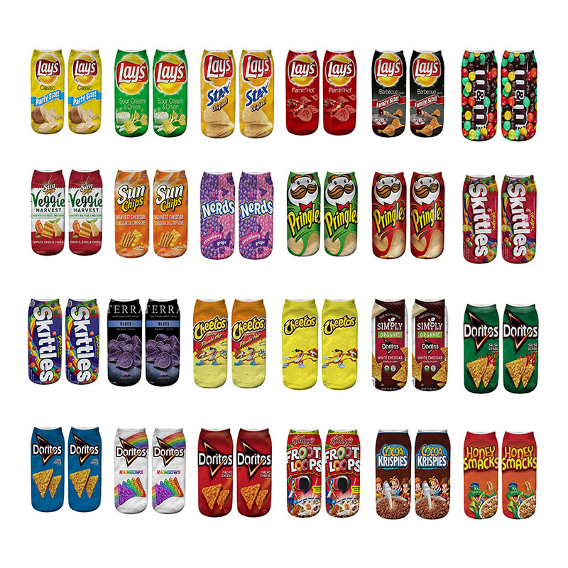 24 Styles Funny Unisex Men Art Socks Women 3D Printing Potato Chips Cotton Art Ankle Short Socks For Men And Women Length 21cm