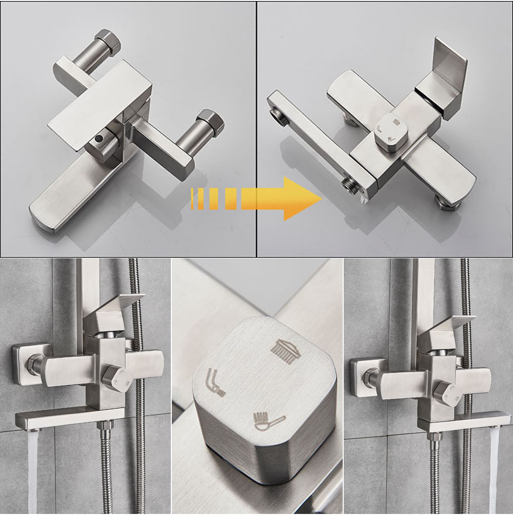 H02cfdd974aca436c9dd3005f2da0e18bH POIQIHY Black Bathroom Shower Faucet Set Wall Mount Black 8''Rainfall Shower Head With Handheld Sprayer Bathtub Shower Mixer