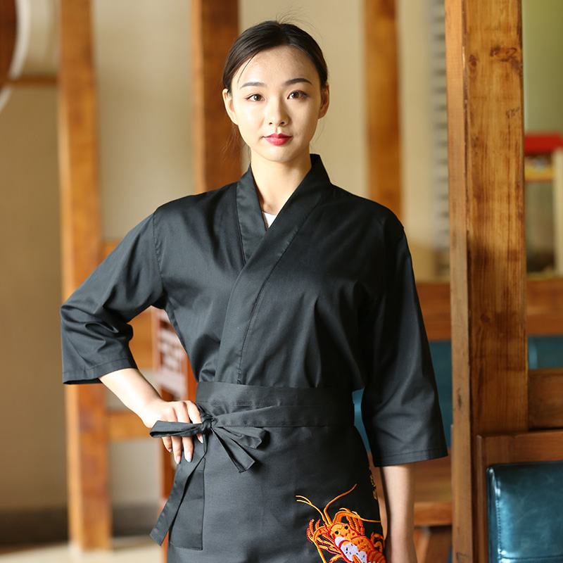 New Unisex Japanese Korea Style Chef Uniform Cook Shirt Medium Sleeve Kimono Sushi Restaurant Kitchen Waiter Work Uniforms