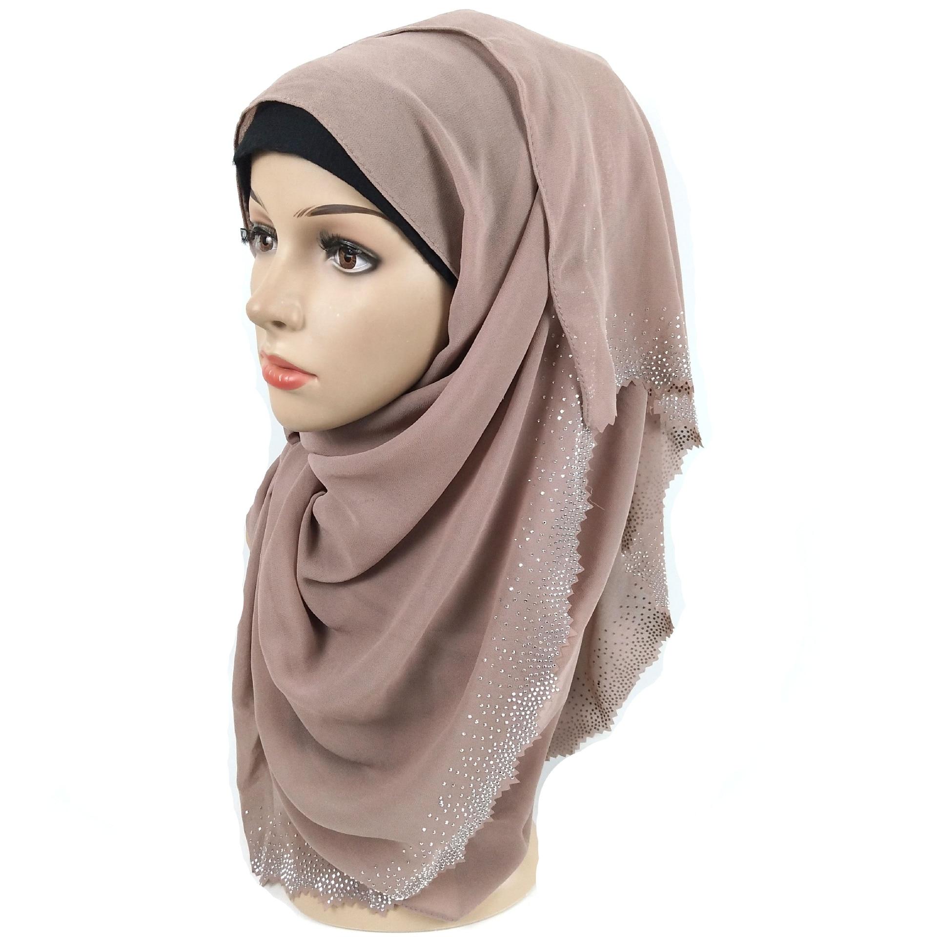Image 2 - New Hollow Hot Diamond Pearl Chiffon Headscarf Muslim Hijab Long Towel Malaysian ShawlIslamic Clothing